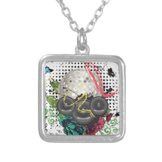 Grunge Silver Disco Ball Silver Plated Necklace