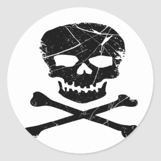 Grunge Skull and Cross Bones Tattoo Round Stickers