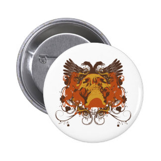 Grunge Skull and Wings Coat Of Arms 6 Cm Round Badge