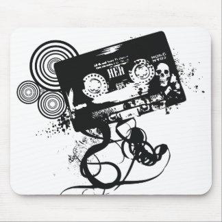 Grunge Skull Audio Tape Mouse Pad