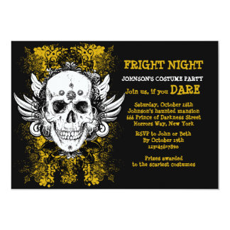 Grunge Skull Fright Night Black Invitation