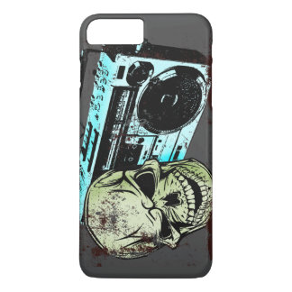 Grunge skull listening to a retro 80s boom box… iPhone 7 plus case