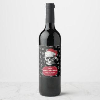 Grunge Skull Santa Wine Label