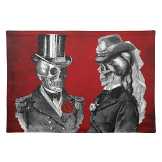 Grunge Skull Skeleton Couple Placemat