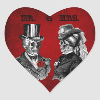 Grunge Skull Wedding & Anniversary Party Heart Sticker