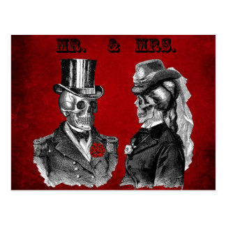 Grunge Skull Wedding & Anniversary Party Postcard