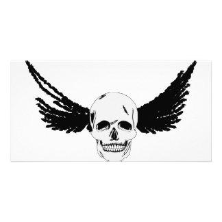 Grunge Skull with wings Custom Photo Card