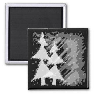 grunge snowy forest magnet