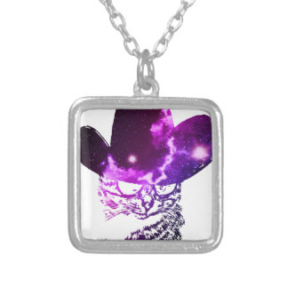 Grunge Space cat 2 Silver Plated Necklace