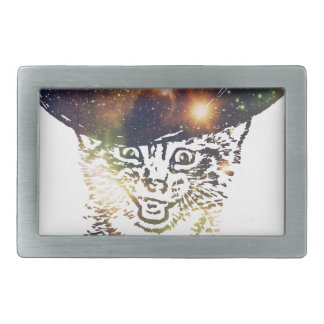 Grunge Space cat 3 Rectangular Belt Buckle
