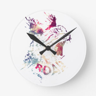Grunge Space cat Round Clock