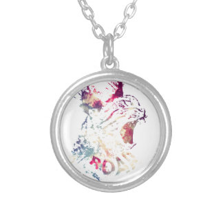 Grunge Space cat Silver Plated Necklace