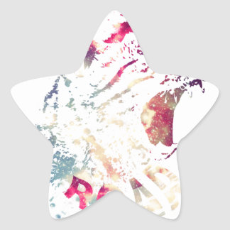 Grunge Space cat Star Sticker