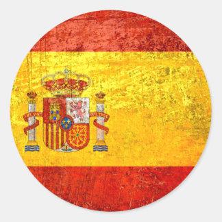 Grunge Spain Flag España Bandeira 2012 Champions Classic Round Sticker