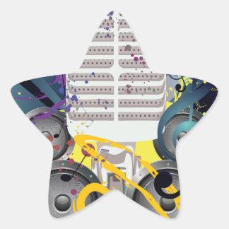 Grunge Speaker and Microphone3 Star Sticker