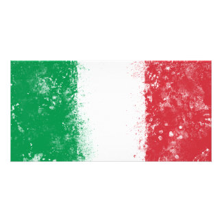 Grunge Splatter Painted Flag of Italy Customized Photo Card