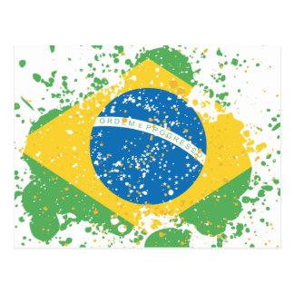 Grunge sprayed Brazil Flag Postcard