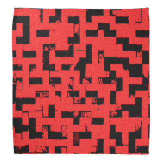 Grunge squares, black bricks on red fabric pattern bandana