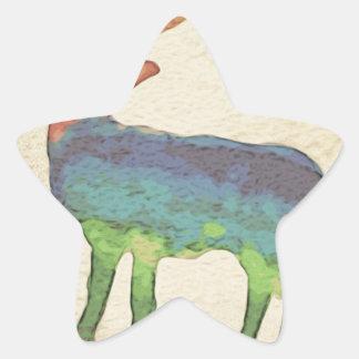 Grunge Stag Star Sticker