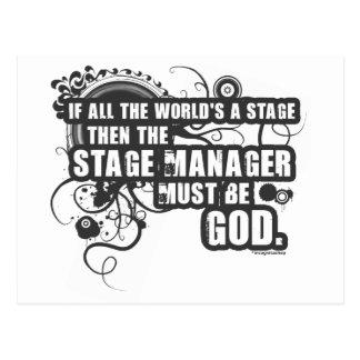 Grunge Stage Manager God Postcard