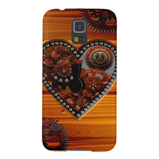 Grunge Steampunk Clocks and Gears Key Heart Box Galaxy S5 Covers