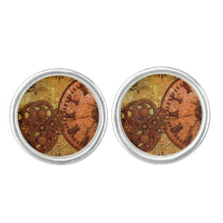 Grunge Steampunk Gear and Clock Cufflinks
