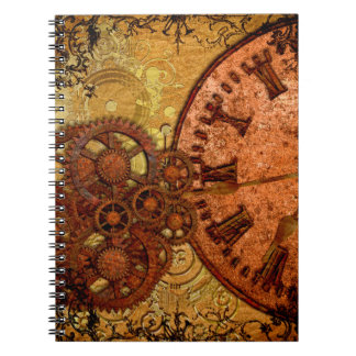 Grunge Steampunk Gear and Clock Notebook