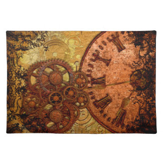 Grunge Steampunk Gear and Clock Placemat