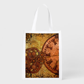 Grunge Steampunk Gear and Clock Reusable Grocery Bag