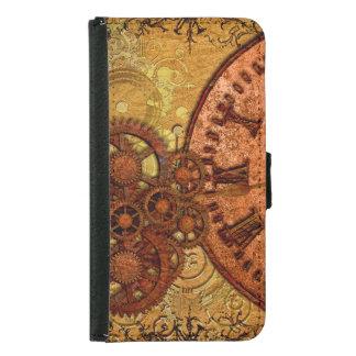 Grunge Steampunk Gear and Clock Samsung Galaxy S5 Wallet Case