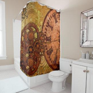 Grunge Steampunk Gear and Clock Shower Curtain