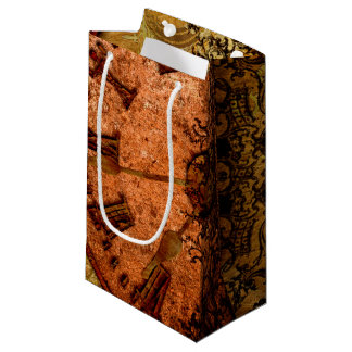 Grunge Steampunk Gear and Clock Small Gift Bag