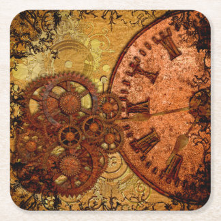 Grunge Steampunk Gear and Clock Square Paper Coaster