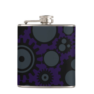 Grunge Steampunk Gears Hip Flask