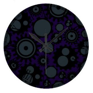 Grunge Steampunk Gears Large Clock