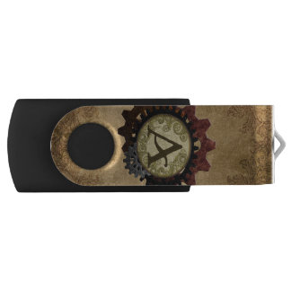 Grunge Steampunk Gears Monogram Letter A USB Flash Drive