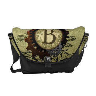 Grunge Steampunk Gears Monogram Letter B Courier Bags