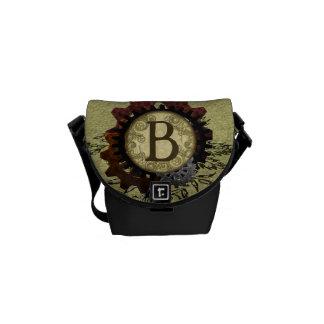 Grunge Steampunk Gears Monogram Letter B Messenger Bags