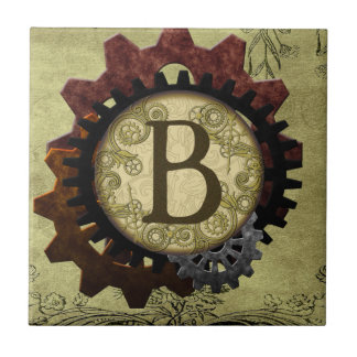Grunge Steampunk Gears Monogram Letter B Small Square Tile