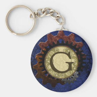 Grunge Steampunk Gears Monogram Letter G Basic Round Button Key Ring