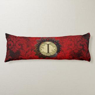 Grunge Steampunk Gears Monogram Letter I Body Cushion