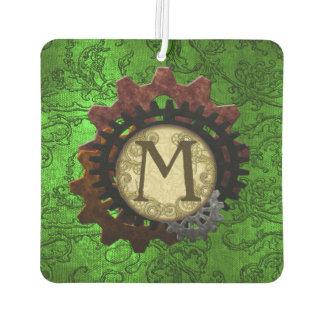 Grunge Steampunk Gears Monogram Letter M