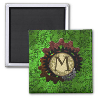 Grunge Steampunk Gears Monogram Letter M Square Magnet
