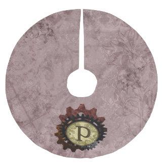 Grunge Steampunk Gears Monogram Letter P Brushed Polyester Tree Skirt