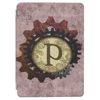 Grunge Steampunk Gears Monogram Letter P iPad Air Cover