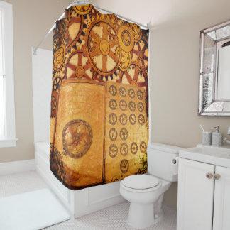 Grunge Steampunk Gears Shower Curtain
