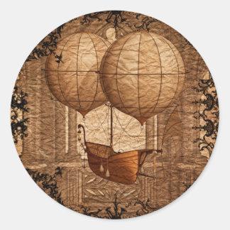 Grunge Steampunk Victorian Airship Classic Round Sticker
