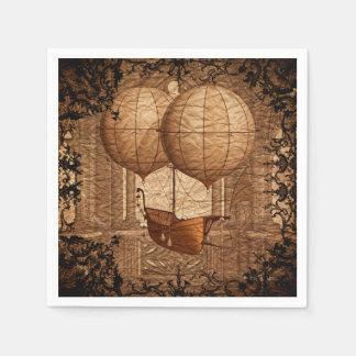 Grunge Steampunk Victorian Airship Paper Napkin