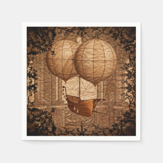 Grunge Steampunk Victorian Airship Paper Serviettes