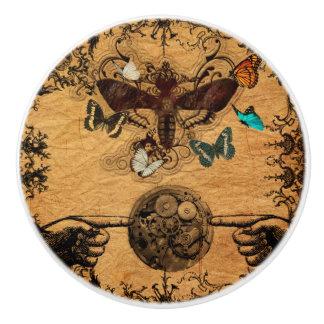 Grunge Steampunk Victorian Butterfly Ceramic Knob
